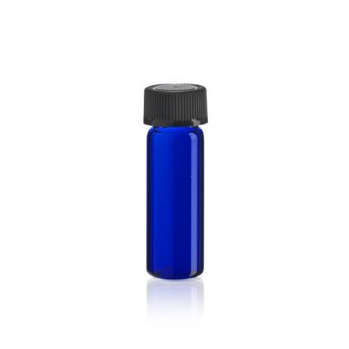 1 Dram BLUE Glass Vial - Screw Cap - Pack of 12