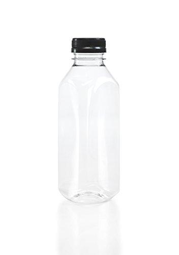 8 16 oz Clear Food Grade Plastic Juice Bottles with Tamper Evident Caps 8Pack Black Lids