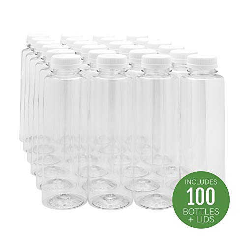 16-OZ Cylindrical Plastic Juice Bottles - Cold Pressed Clear Food Grade PET Bottles with Tamper Evident Safety Cap Perfect for Cafes and Catering Events - Disposable and Eco-Friendly - 100-CT