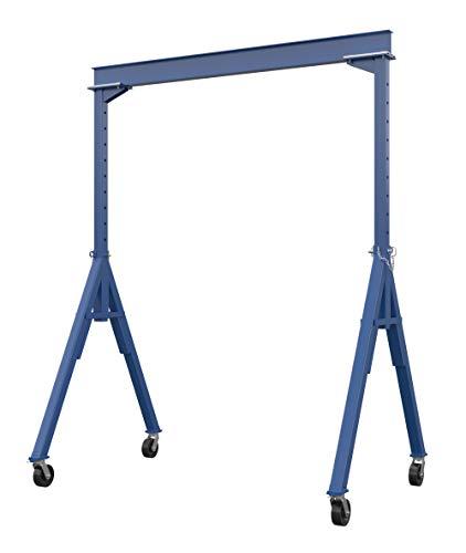 Vestil AHS-2-10-14 Steel Adjustable Height Gantry Crane 2000 lbs Capacity 10 Length x 6 Height Beam 102-168 Usable Height