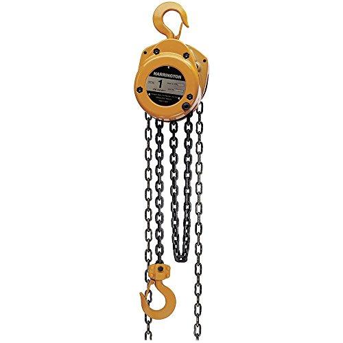 Harrington CF Series Die-Cast Aluminum Body Hand Chain Hoist 1 Ton Capacity 15 Lift Height 135 Hand Chain Drop 146 Headroom