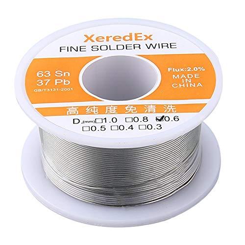 XeredEx 06mm 2 Flux Tin Lead Rosin Silver Solder Wire Roll Core Welding Soldering Repair Tool Reel Melt Kit 63 Sn