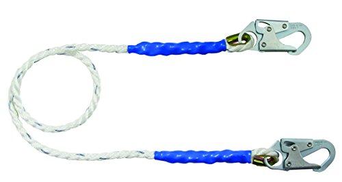 FallTech 8154 Restraint Lanyard - Single Leg 58 Premium Polyester Rope with 2 Snap Hooks 4 BlueBlack
