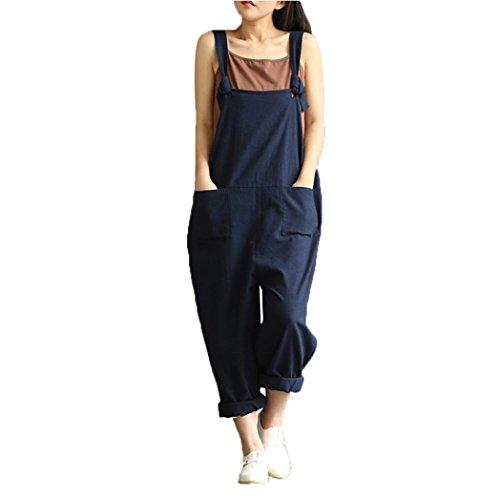 Hemlock Women Long Strap Pants Trousers Loose Overalls Jumpsuit Pants L Blue
