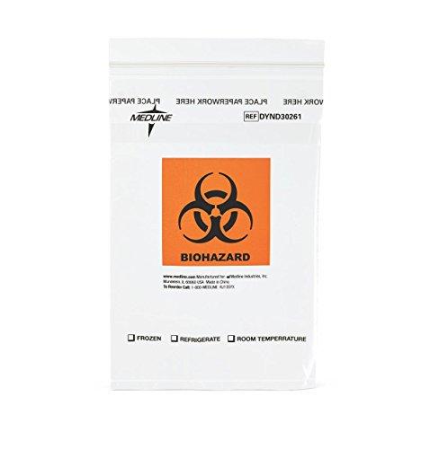 Medline DYND30261Z Zip-Style Biohazard Specimen Bags Plastic Latex Free 9 Length 6 Width Clear Pack of 100