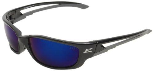 Edge Eyewear SK-XL118 Kazbek XL Safety Glasses Black with Blue Mirror Lens