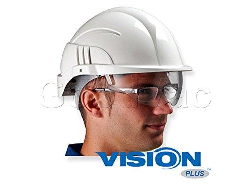 Centurion Vision Plus ABS Helmet wIntegrated Retractable VisorSafety Glasses Lightweight Design with Ratchet Headband - White