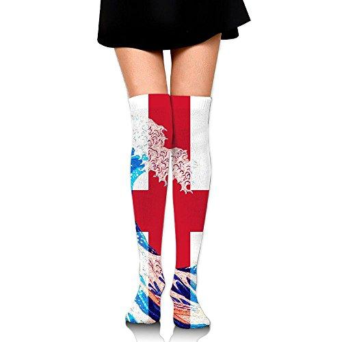 England Flag And Wave Off Kanagawa Long Socks Knee High Socks Dress Socks For Cosplay Daily Life Party