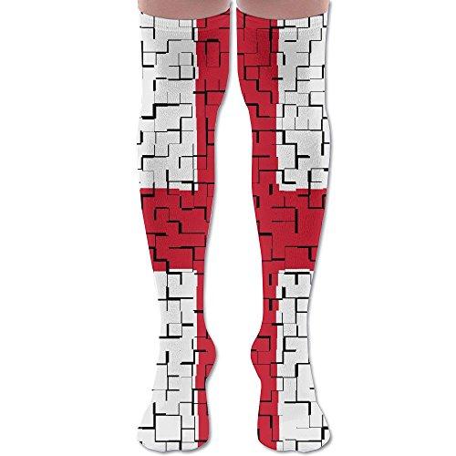 England Flag Puzzle Long Socks Knee Sock Over The Knee High Sock Novelty Soft Breathable For Athletic Run
