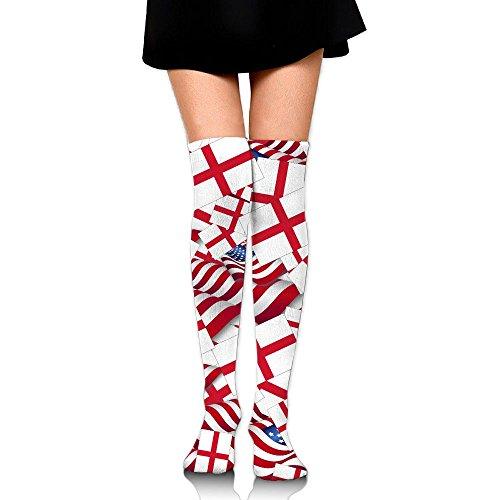 England Flag With America Flag Compression Socks Knee High Socks Long Socks For RunningWalkingHikingCycling