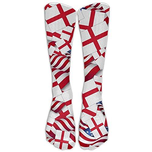 England Flag With America Flag Crew Socks Causal Socks Compression Socks High Socks Crazy Socks For RunningAthleticEdemaTravelNursing