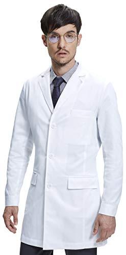 Dr James Mens Consultation Lab Coat Slim Fit Multiple Pockets White 36 Inch Length DR12-M