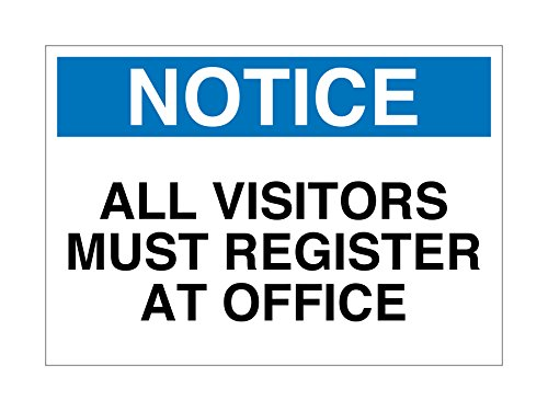 Imprint 360 AS-10026V Vinyl ADHESIVE Workplace Notice All Visitors Must Register at Office Sign 7X10 WhiteBlueBlack Made in the USA Great Resistance to Water and Most Chemicals