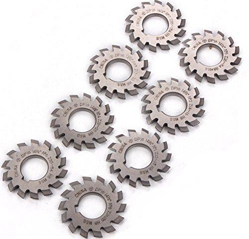 8PCS Gear Milling Cutter HSS 8H Set 8 Pcs DP16 PA14-12 Bore22 No1-8 Involute Gear Cutters Diameter 55mm