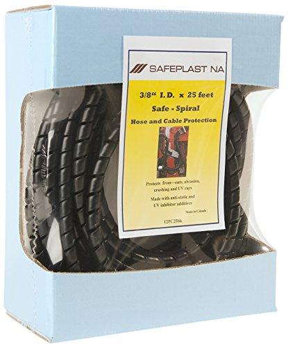 Pre-Cut Spiral Wrap Hose Protector 12 OD 25 Length Black Pack of 6