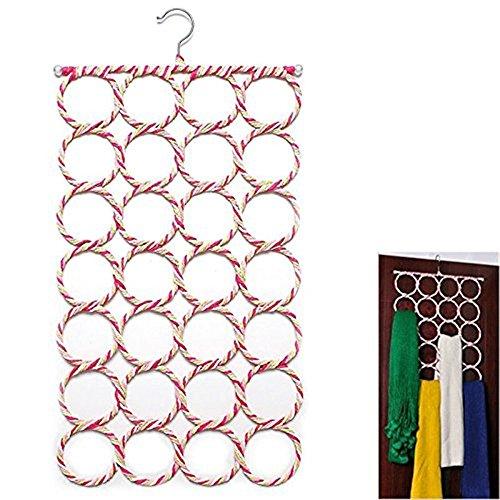 28 Rings Rope Slots Holder Hook Scarf Wraps Shawl Tie Belt Storage Hanger Organizer Pack of 2 Random Color