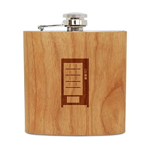 WOODEN ACCESSORIES COMPANY Cherry Wood Flask With Stainless Steel Body - Laser Engraved Flask With Vending Machine Design - 6 Oz Wood Hip Flask Handmade In USA