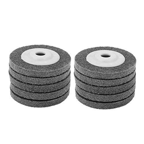 DealMux 4 Inch Dia 11mm Thick Nylon Fiber Wheel Abrasive Polishing Buffing Disc Gray 10pcs