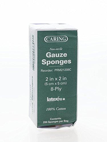 Medline PRM21208CZ Caring Woven Non-Sterile Gauze Sponges 2x2 Pack of 200