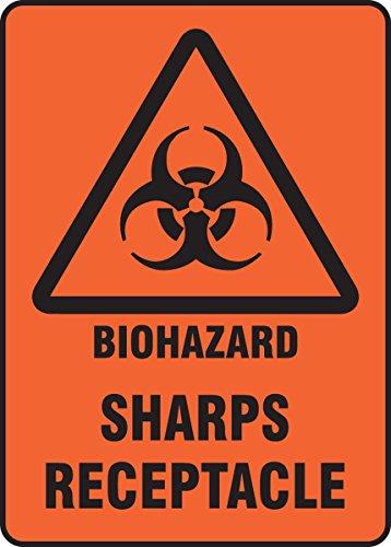 Accuform Signs MBHZ516XV Adhesive Dura-Vinyl Sign Legend BIOHAZARD SHARPS RECEPTACLE 10 Length x 7 Width x 0006 Thickness Black on Orange-Red