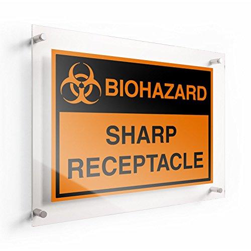 LichtWorks OSHA Biohazard Acrylic Sign Sharp Receptacle 10 x 7