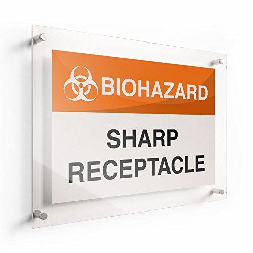 LichtWorks OSHA Biohazard Acrylic Sign Sharp Receptacle 20 x 14