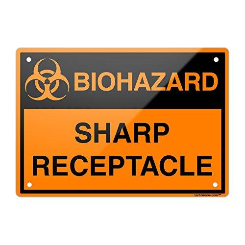 LichtWorks OSHA Biohazard Metal Sign Sharp Receptacle 18 x 12
