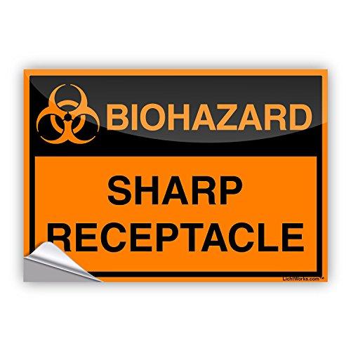 LichtWorks OSHA Biohazard Sticker Sharp Receptacle 20 x 14