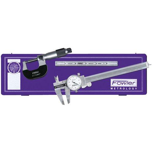 Fowler 52-095-007 Toolmakers Universal Measuring Set 6 Dial Caliper 6 Flexible Rule Micrometer