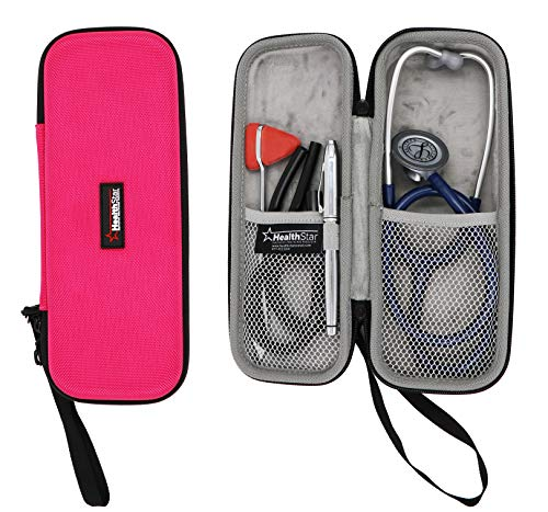 Healthstar Stethoscope Case - Hard Protective Carry Cover with Handle - Doctor and Nurse Accessories Pink