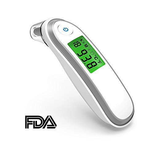 Digital Forehead and Ear Thermometer Infrared Medical Thermometer for Adults and Kids Fast and Accurate Reading with Fever Indicator FDA and CE Approved