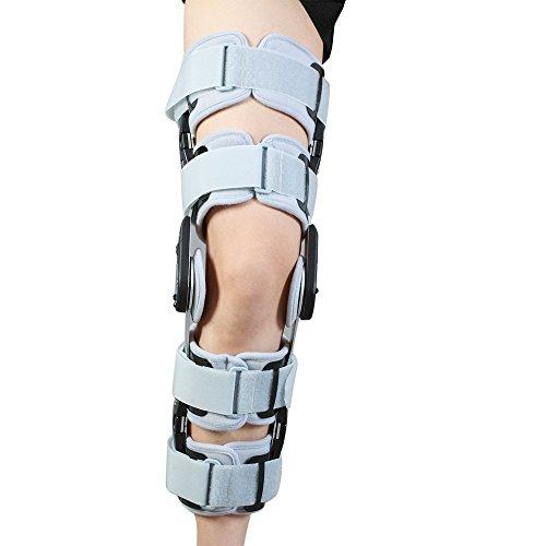 Hinged Knee Brace Support Adjustable ROM Knee Brace Patella Knee Splint Brace Knee Brace Stabilizer Knee Immobilizer Hinged Rom Knee Brace with FDA  Adjustable for Left Leg and Right Leg  White