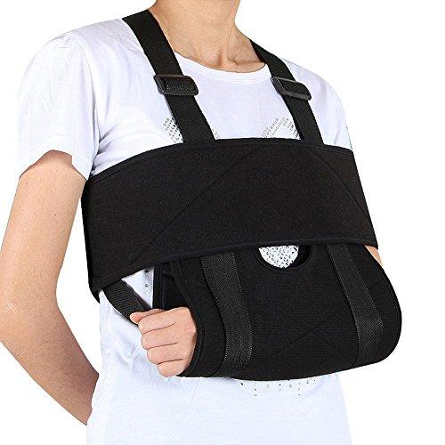 Professional Arm Unisex Adults Sling Shoulder Immobilizer - Rotator Cuff Support Brace - Ergonomic Adjustable Black Strap