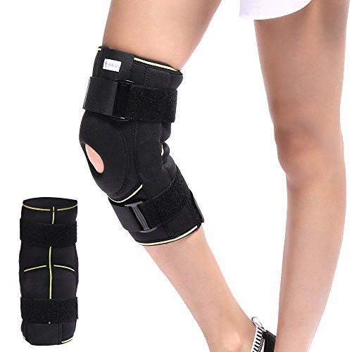 Soft Hinged Knee Patella Brace Support Stabilizer Pad Belt Band Strap Orthosis Splint Wrap Compression Sleeve Immobilizer Guard Protector Adjustable Medical Orthopedic Post-Op M