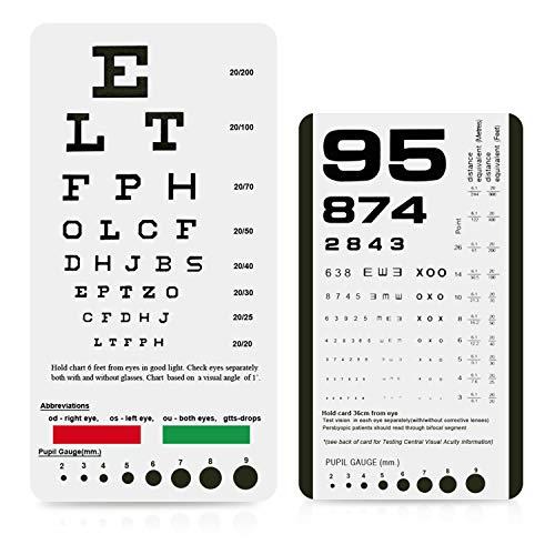 Eye Chart Pocket Eye Chart Snellen Pocket Eye Chart Rosenbaum Pocket Eye Chart 2 Pack