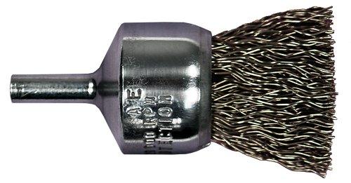PFERD 82962 Power Stem Mounted Crimped Wire End Brush Round Shank Carbon Steel Bristles 12 Diameter 0006 Wire Size 25000 Maximum RPM