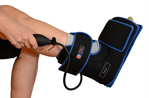 Ankle Cold Compression Therapy Wrap for with Reusable Gel Pack and Ball Pump - 2 Hour Cooling Retention - Best Ice Wrap for Achilles Tendon Pain  Foot Sprain Strain Relief - Sports Injuries Black