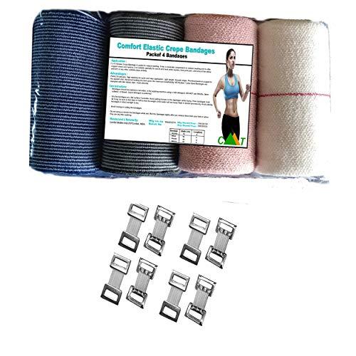 Comfort Premium Elastic Crepe Bandage Compression Bandage Wrap Rolls with End Overclocking Pack of 4 Pcs Color ArmyGreenBlueFleshRawwhite Size  10 cm x 4 m