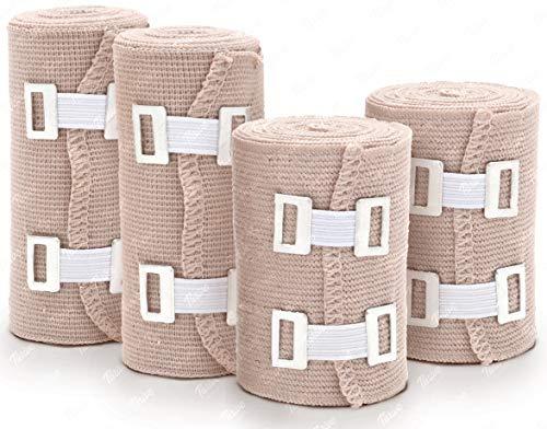 Premium Elastic Bandage Wrap - 4 Rolls  8 Clips - Athletic Wrap - Bandage Compression Tape Roll Ankle Wrist Leg Elbow Knee Sprains and Strains