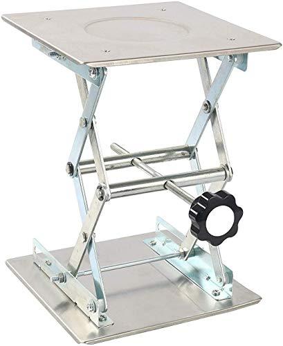 FamYun 10 x 10 250mm Stainless Steel Lab Jack Scissor Stand Platform LAB Lift Laboratory Jiffy Jack Rack Lifter