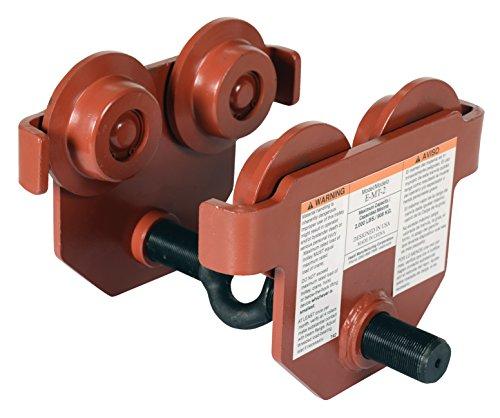 Vestil E-MT-2 Steel Low Profile Eye Manual Push Trolley 2000-lb Capacity 2-14 - 10-18 I-Beam Flange 2-58 Headroom