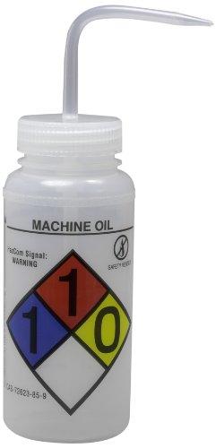 Bel-Art GHS Labeled Safety-Vented Machine Oil Wash Bottles 500ml 16oz Polyethylene wNatural Polypropylene Cap Pack of 4 F12416-0010