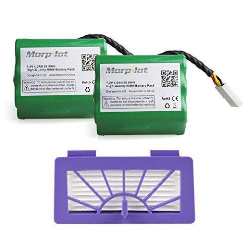 Morpilot 2Pack 4000mAh Battery with HEPA fliter for Neato XV-11 XV-12 XV-14 XV-15 XV-21 XV-25 XV Essential XV Signature and XV Signature Pro Robotic Vacuum Cleaners