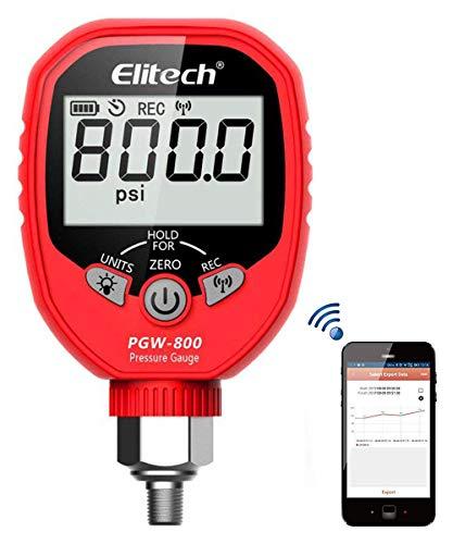 Elitech PGW-800 Wireless Digital Pressure Gauge with Temperature App Alerts for HVAC System IP65 Waterproof -145-800 PSI 18 NPT