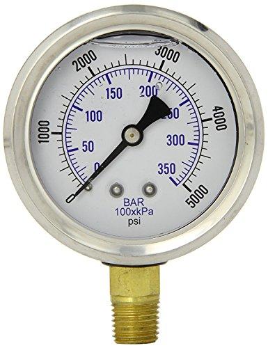 Herco Liquid Filled Hydraulic Pressure Gauge 0 - 5000 PSI NPT