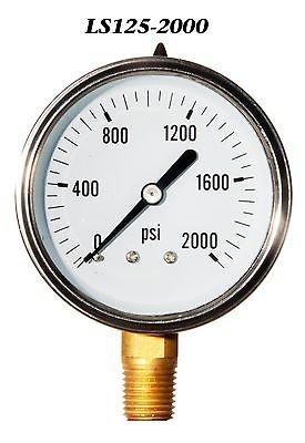Hydraulic Liquid Filled Pressure Gauge 0-2000 PSI