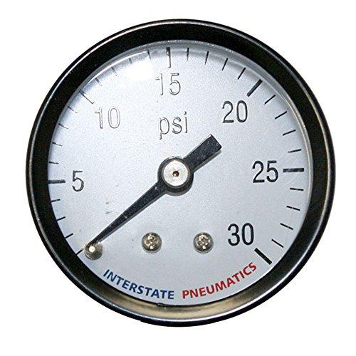 Interstate Pneumatics G2101-030 Pressure Gauge 0-30 PSI 1-12 Inch Diameter 18 Inch NPT Rear Mount