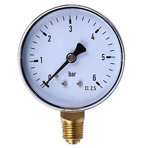 Jili Online 14NPT Air Hydraulic Pressure Gauge 0-6 bar Side Mount Manometer 23Face