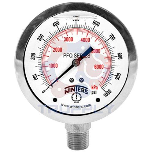 Winters PFQ Series Stainless Steel 304 Dual Scale Liquid Filled Pressure Gauge 0-3000 psikpa 2 Dial Display -25 Accuracy 18 NPT Bottom Mount