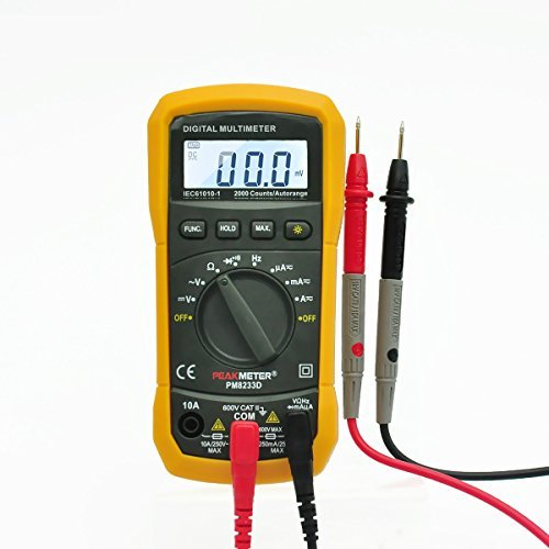 Digital Multimeter PEAKMETER PM8233D Auto-Ranging Digital Multimeters AC DC Non Contact Voltage Tester Electric LCD DMM Ohmmeter Electric FrequencyResistance Tester Meter with Test Leads Orange